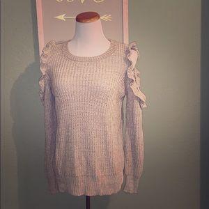 Super soft cold shoulder ruffle sweater